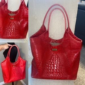 Brahmin Red XL tote bag purse